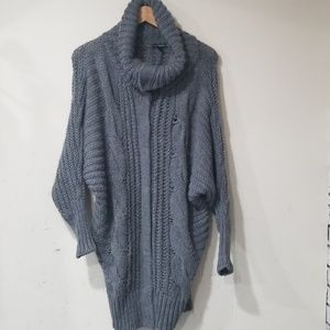Express chunky knit cowl neck cardigan grey XS